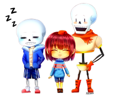 Chibi Sans, Frisk, And Papyrus by AliceYume88
