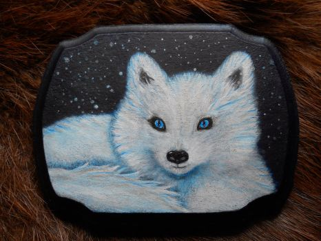 Arctic Fox Mini Painting by Kellywatchthestars