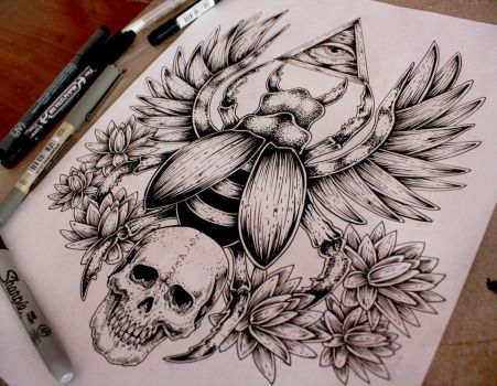 Scarab Tattoo Commission by EG-TheFreak