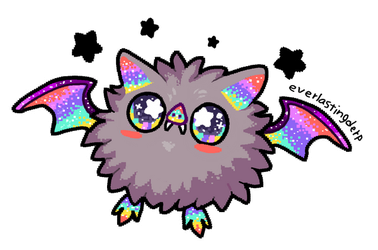 Rainbow floof bat by EverlastingDerp