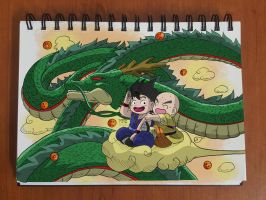 Dargon ball Flying with shenron by TomatoStyles