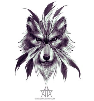 Feather Wolf by Aths-Art