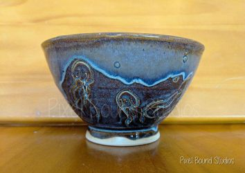 Hand Thrown Jellyfish Themed Ceramic Bowl by pixelboundstudios