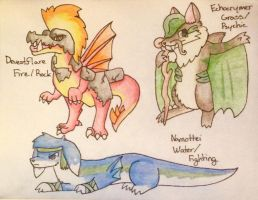 My Fakemon Starters, But Evolved (Again) by pheonix548