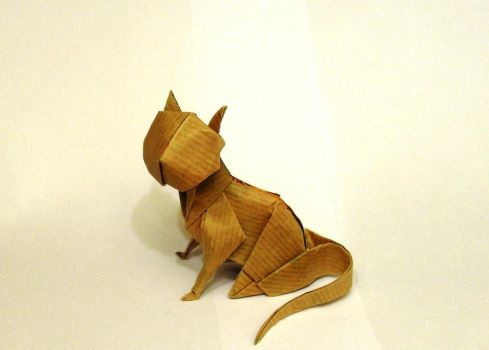 Origami sitting cat by Orestigami
