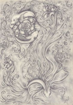 Surreal Dances  of Fish and Roses by Michelle-Kowalczyk