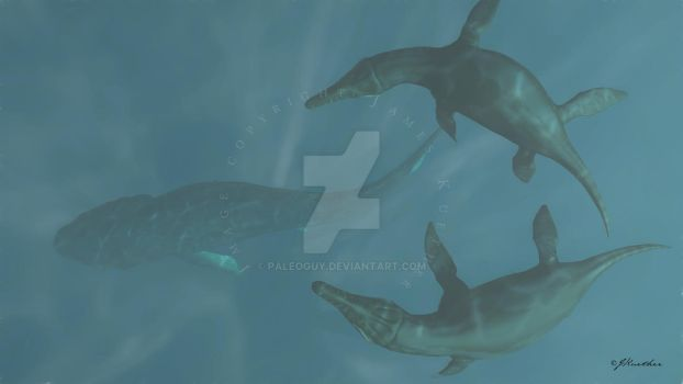 Leedsichthys and Liopleurodon by PaleoGuy