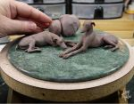 Miniature Sighthound sculptures WIP by Pajutee
