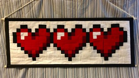 Pixel Patchwork Tapestry + Three Hearts + by LadyJuxtaposition