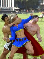 Supergirl vs MMA heavyweights in Bryant Park, NY by DahriAlGhul
