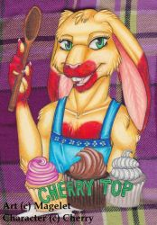 Cherry Top Conbadge Commission by Magelet