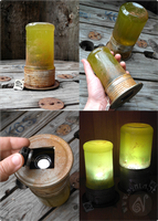 Green Glowing Steampunk Lantern (For sale on Etsy) by Nymla