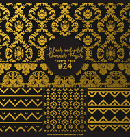 Papers pack #24 - Black and gold Damask Paper by lune-blanche