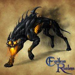 Endless Realms bestiary - Hellhound by jocarra