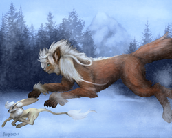 Snowy Hunt by Onyxoasis