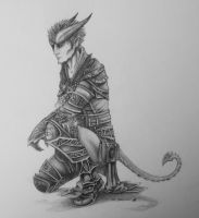 Tiefling Gladiator Mage: Triey by WhisperZintheDark