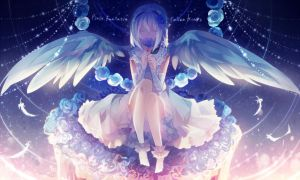 Blue rose of white angel by FiliaNanna