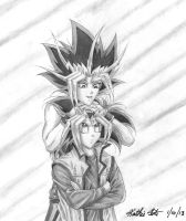 Commission for Black-Wren: Yugi and Atem by Yamigirl21