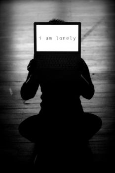 i am lonely 2 - laptop face by bearscanbemean
