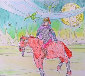 The Rider on the alien plain by russellchap