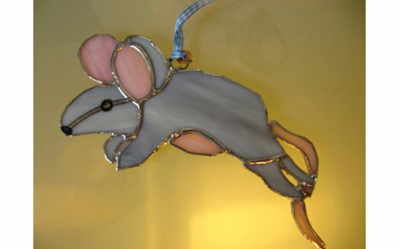 stained glass grey mouse suncatcher by Marjorie50