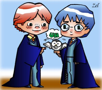 Chibi Harry and Ron by LauraZel