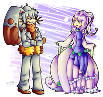 Diggersby n Goodra - Humanized