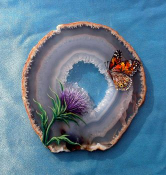 Thistle and Butterfly on Agate by Nevuela