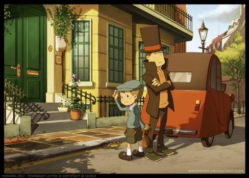 Luke and Layton in London by wredwrat