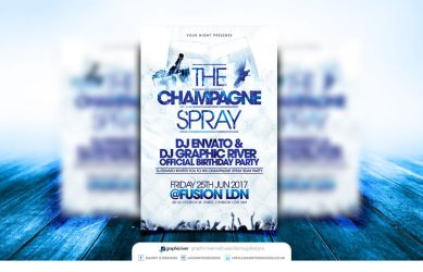 The Champagne Spray Birthday Party Flyer Template by Dannygdesigns