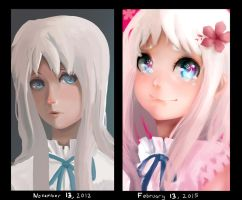 Menma Portrait (Remake) Draw it again Comparison by Daidus