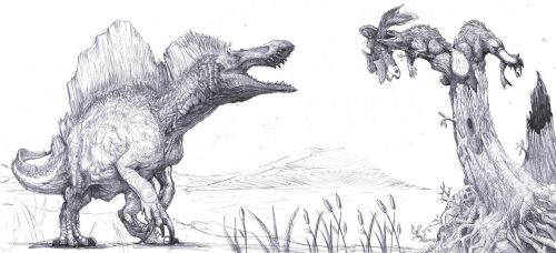 Spinosaurus,  platypuses and fishes by Zombiraptor