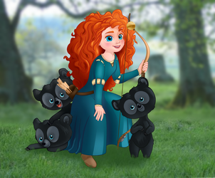 Merida and her Brothers... Cubs by artistsncoffeeshops