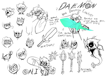 Daemon and Oni Sketches by Soulment