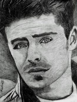 Portrait of Zac Efron by Darpansinghh