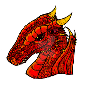 Young Red Dragon Head by billiambabble