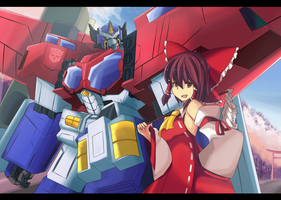Optimus Prime and a Miko by Altronage