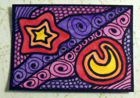 Star and Moon ACEO by mintdawn