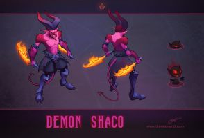 LoL skin concept: Demon Shaco by Shockowaffel