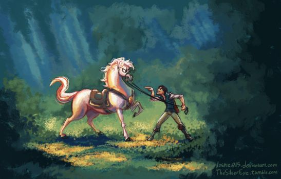 Tangled - Flynn Rider and Maximus by LauraHollingsworth