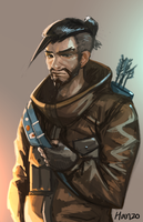 Hanzo doodle -from overwatch comics by Louie-Oh
