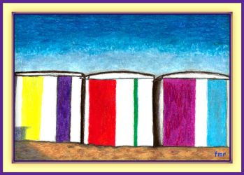 Brightly Coloured Beach Huts by fmr0