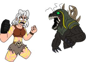 Iron Empress and Kaiju Warlord by alienhominid2000