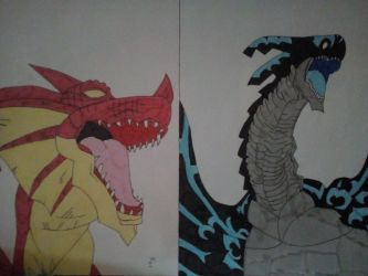 Fairy Tail - Igneel / Ignir and Acnologia by TheWhiteExorcist