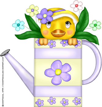 Spring Duck in Watering Can by Craftykid