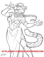 Anbessa's Tigress sketch commission by lady-cybercat