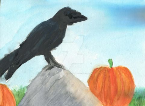 Raven On A Rock by NicoleMAbrahamson