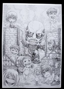 Attack on Titan pen drawing