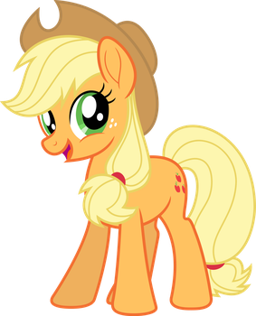 Mlp Fim New Applejack (happy) vector by luckreza8
