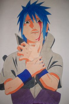Sasuke Uchiha -bloody eye-colored- by SakakiTheMastermind